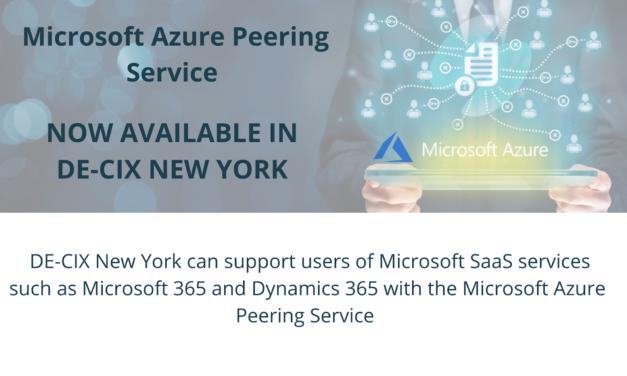 DE-CIX New York Enhanced with Enterprise-Grade Microsoft Services